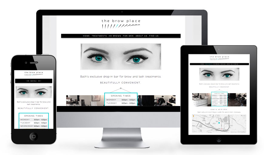 Borw Place Bath responsive website design on a range of devices.