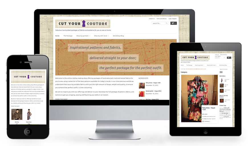 Cut Your Couture ecommerce website on desktop, iphone and ipad